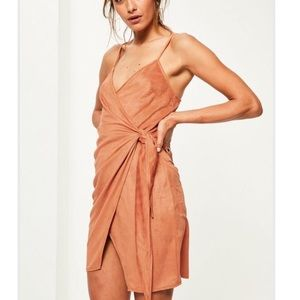 Burnt Orange Faux Suede wrap dress